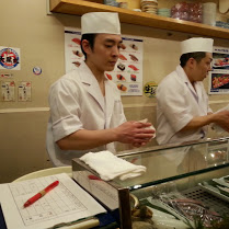 Watching sushi freshly made for you on the spot it's like watching a food show 'live'.
