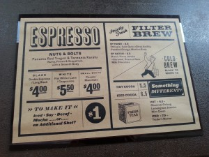 Grain Traders Coffee Menu